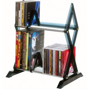 56-CD or 36-DVD/Blu-ray, 2-Tier Mitsu Multimedia Storage Rack-GB1186