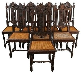 6 Antique Dining Chairs 1880 French Hunting Style Regal Carved Oak Cane Seats