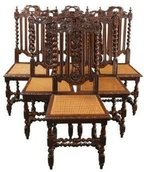 e27a47214bc41 6 Antique Renaissance Dining Chairs 1880 France Hunting Style Carved Oak  Cane