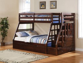 Acme 37015 Jason Twin Full Bunk Bed With Storage Ladder And Trundle Espresso Finish