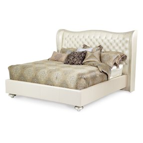 AICO Hollywood Swank Creamy Pearl Tufted White Leather and Crystal Queen Bed 4PC Bedroom Set