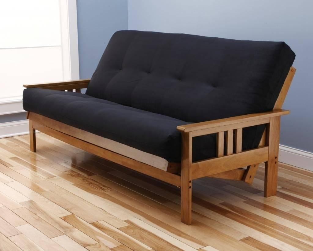 andover full size futon sofa bed honey oak wood frame suede innerspring mattress futon frames   foter  rh   foter