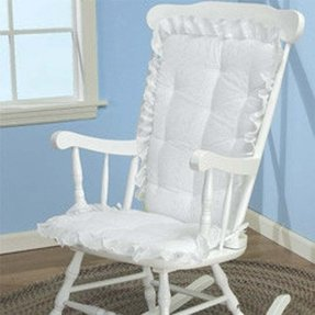 Baby Doll Bedding Carnation Eyelet Adult Rocking Chair Cushion Pad Set, White