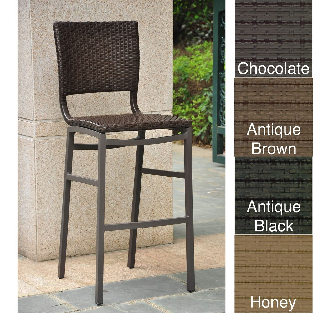 Genial Barcelona Resin Wicker Outdoor Bar Height Chairs Stools (SET OF2)