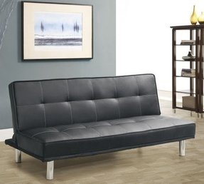 Black Leather Look Click Clack Futon