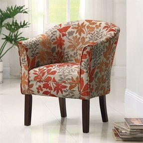 COASTER 460407 Floral Barrel Back Accent Chair