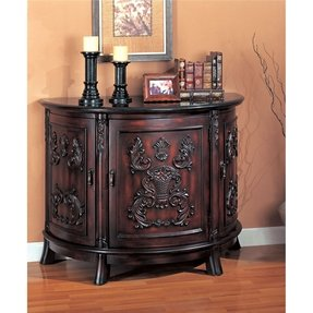 Coaster Bombe Chest in Antique Cherry with Black Marble Top - 950053