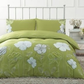 DIAIDI Home Textile,Rustic Embroidery Bedding Set,Rustic Green Purple Flower Bedding Set,Luxury Unique European Bedding Sets,Queen/King,4Pcs Bed Sets (Green, Queen)