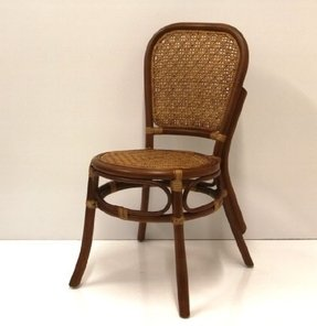Dining Armless Accent Wicker Side Chair Handmade Rattan Wicker Furniture Colonial (Light Brown)