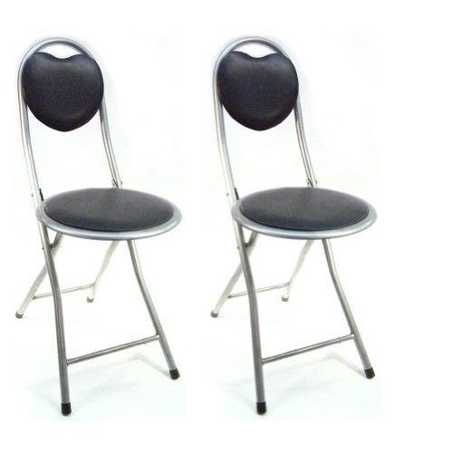 DLUX Small Folding Chairs, Perfect For RV And Mobile Homes, Heart Shaped  Back,