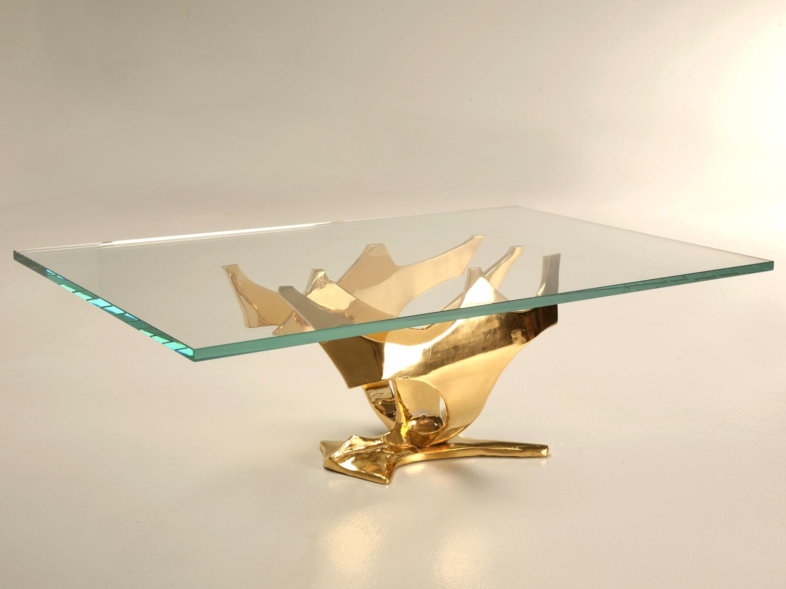 Free Form Bronze And Gold Coffee Table Base With Thick Glass Top