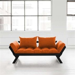 Fresh Futon Bebop Convertible Sofa Bed Black Frame Orange Mattress