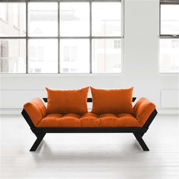 Nice Fresh Futon Bebop Convertible Futon Sofa/Bed, Black Frame, Orange Mattress