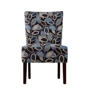 Handy Living 340C2-PTL52-047 Dunley Armless Chair, Blue And Brown Turning Leaves Earth Design, Pack of 2