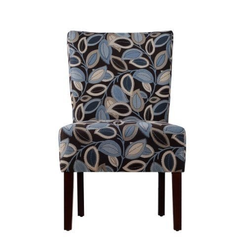 Bon Handy Living 340C2 PTL52 047 Dunley Armless Chair, Blue And Brown Turning  Leaves
