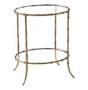 Hollywood Regency Faux Bamboo Brass Iron Side Accent Table