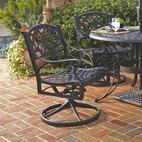 Home Style 5554-53 Biscayne Rocking/Swivel Outdoor Arm Chair, Black Finish