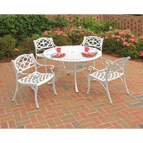 Home Styles 5552-308 Biscayne 5-Piece Dining Set with Round Table and Arm Chair, White Finish, 42-Inch