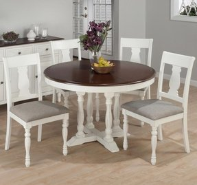 Jofran 693 48 Chesterfield Tavern 5 Piece Round Butterfly Leaf Dining Room Set W