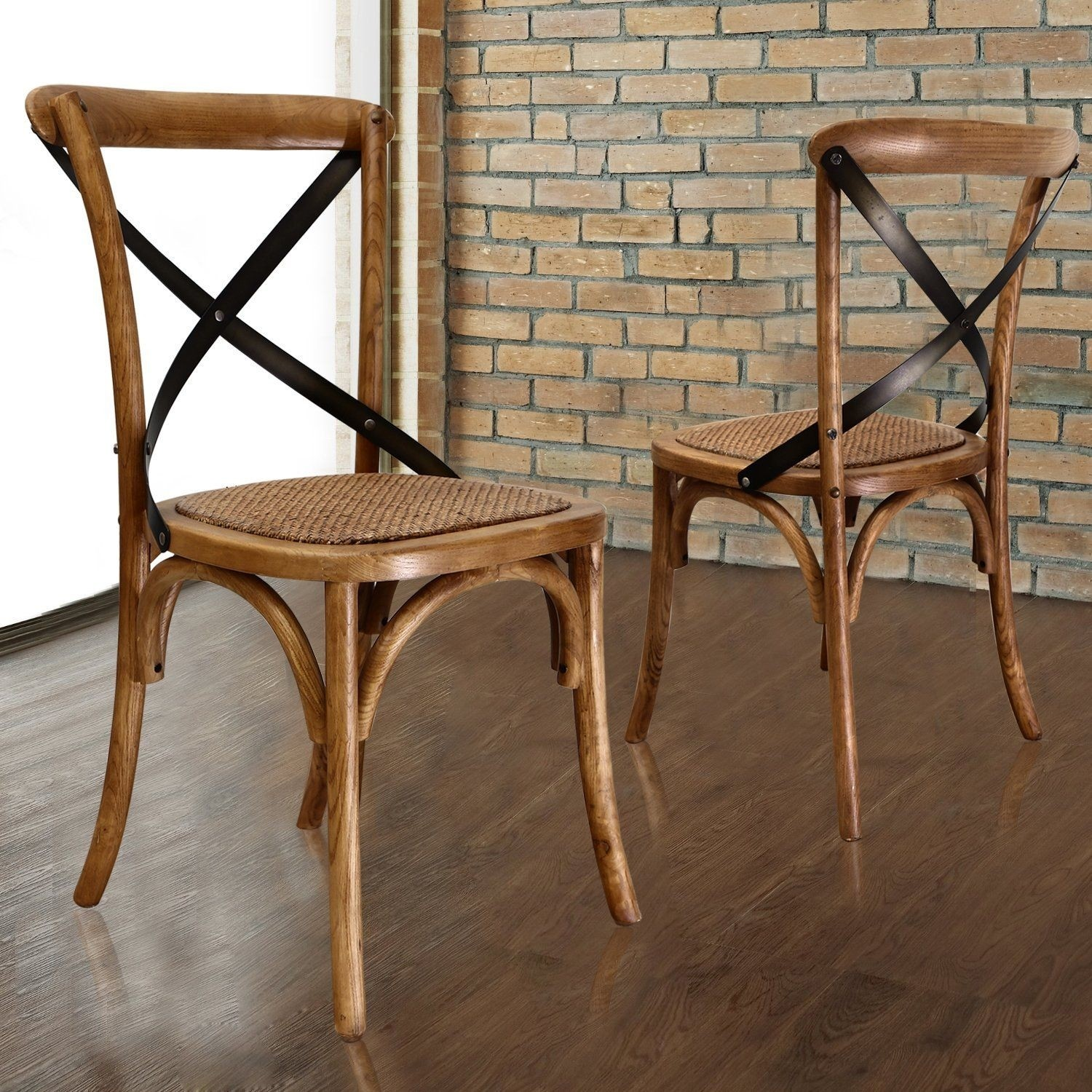 Joveco Vintage Style Solid Wood Cane Seat Dining Chair   Set Of 2