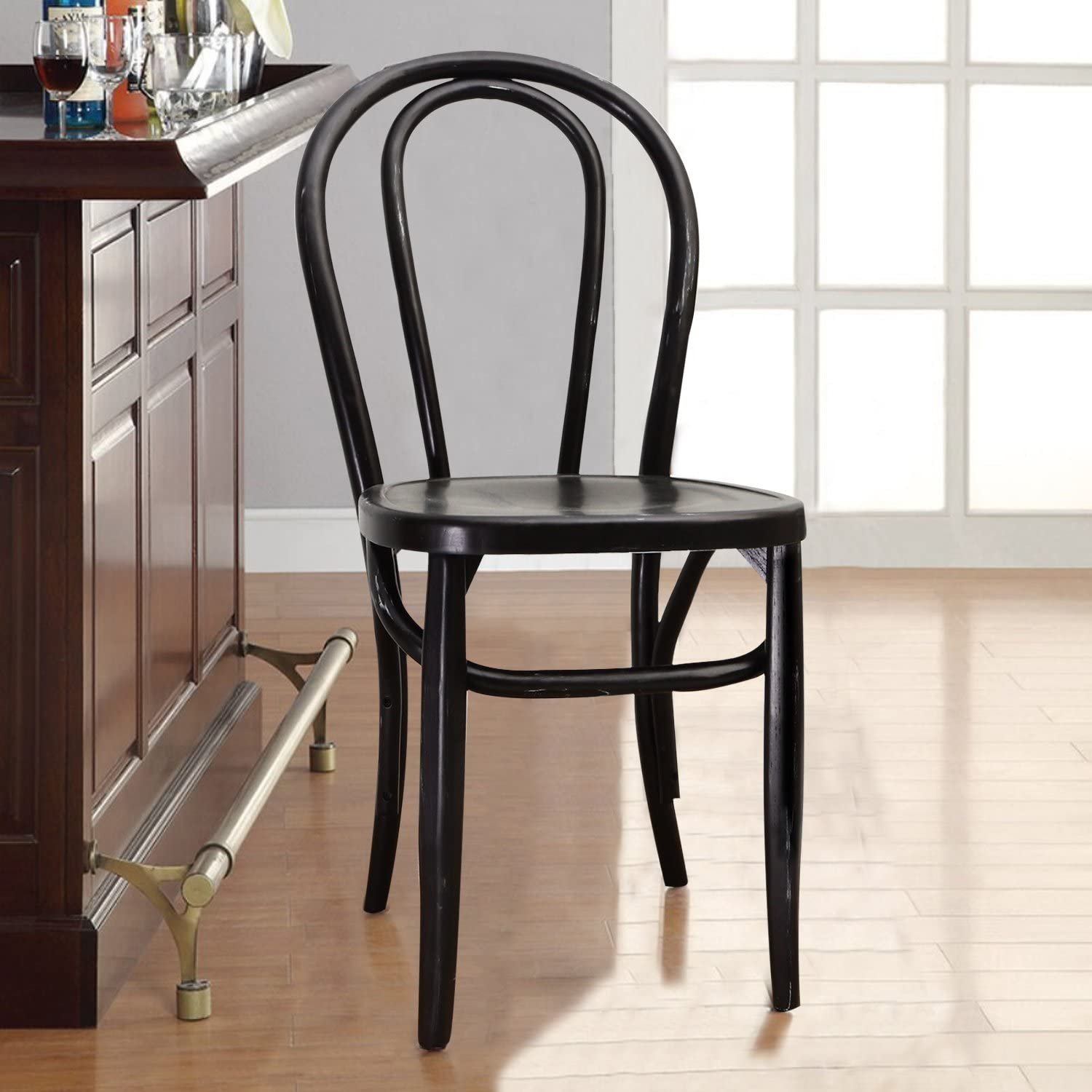 Lovely Joveco Vintage Style Solid Wood Dining Chair   Set Of 2 (Black)