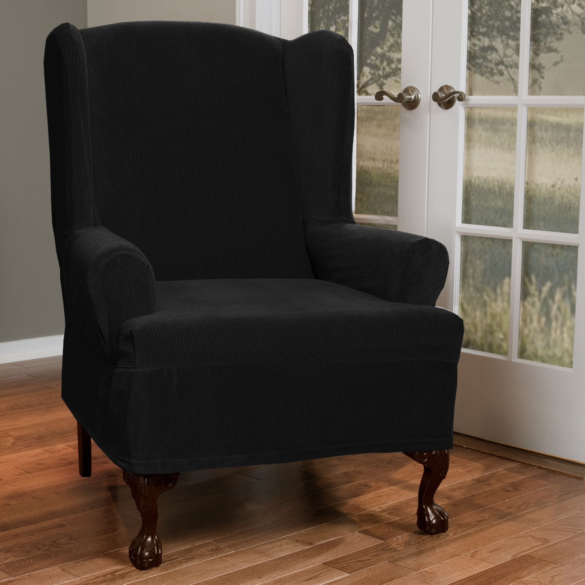 Maytex Collin Stretch 1 Piece Slipcover Wing Chair, Black
