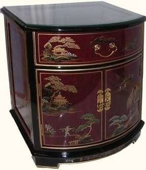 "Ming Design Fine Chinese Black Lacquer and Red Table/Nightstand with Drawer- 24"" H."