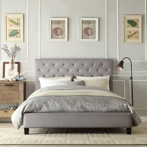 Modern Diamond On Tufted Upholstered Padded Square Queen Headboard Platform Bed In Gray