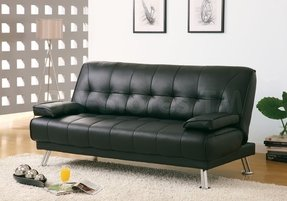 Monarch Specialties 9103 Click Clack Futon In Black Leather