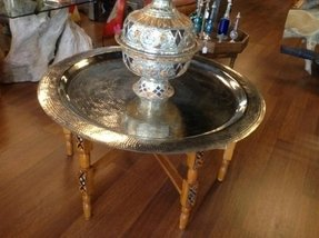 Moroccan Brass tray folding Table