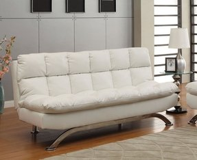 Mussina White Leatherette Finish Futon Sofa Bed