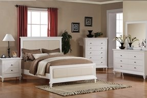 Queen Size Bed with Beige Leatherette in White Finish