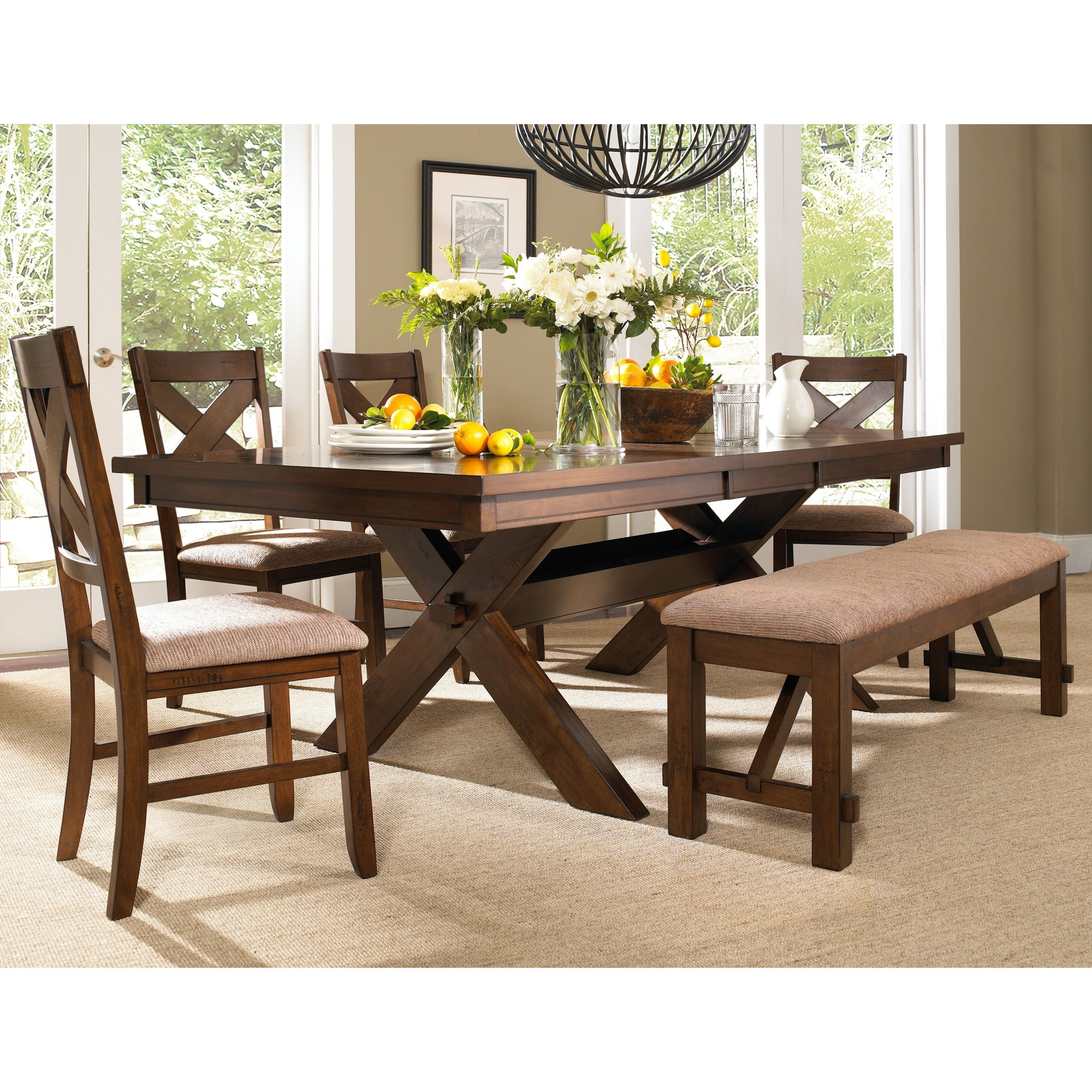 Roundhill Furniture 6 Piece Karven Solid Wood Dining Set With Table, 4  Chairs And