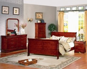Roundhill Furniture Isola 5-Piece Louis Phillipe Sleigh Bedroom Set, Includes King Bed, Dresser Mirror and 2 Night Stands, Cherry Finish