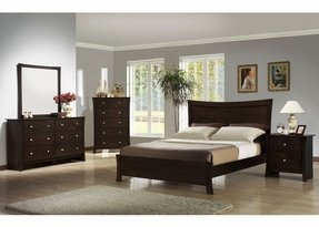 Roundhill Furniture Machy 5-Piece Bedroom Set, Includes Queen Bed, Dresser, Mirror and 2 Night Stands