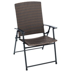 Set of 4 Living Accents Folding Wicker Patio Chairs - FRS50852 - Steel - Mocha Brown