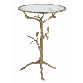 Sherwood Sculpted Tree Branch Antique Brass Side Table- S