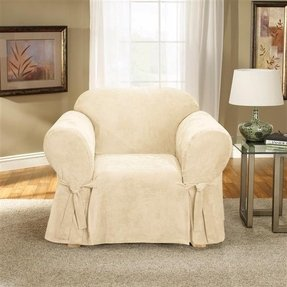 Sure Fit Soft Suede 1-Piece Chair Slipcover, Cream