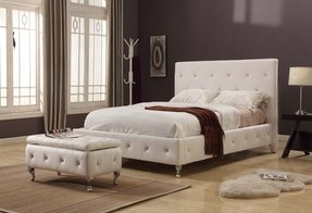 White Tufted Design Leather Look Full Size Upholstered Platform Bed