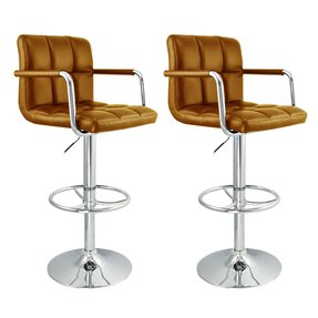 2 Swivel Dark Brown Elegant Pu Leather Modern Adjustable Hydraulic Bar Stool Barstool