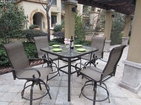 5pc Outdoor Premium Sling Swivel Patio Bar Set