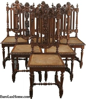 b8f58d8324c66 6 Antique Dining Chairs 1880 French Hunting Carved Wood Rattan Elegant Crest