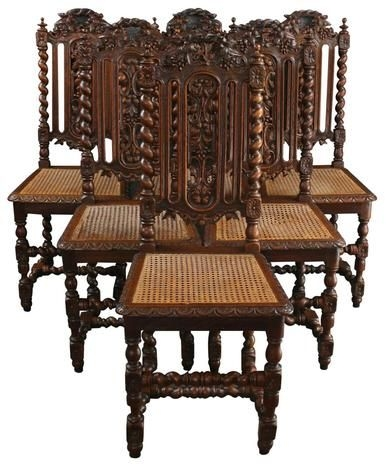 6 Antique Dining Chairs 1880 French Hunting Style Carved Wood Rattan Leafy