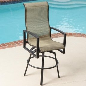 Acadia Sling Swivel Patio Bar Stool