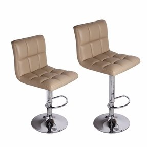 Adeco [CH0016-3] Beige Adjustable Barstool Chairs (Set of 2), Chrome Finish, Home Decor