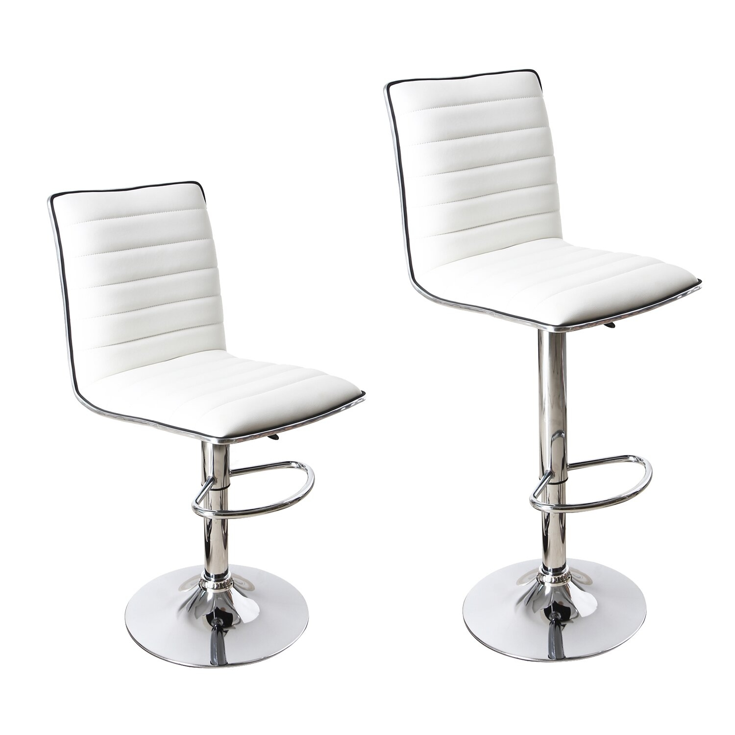 Adeco [CH0029] White Barstool Faux Leather Upholstery (Set of 2) Chairs, Home Decor