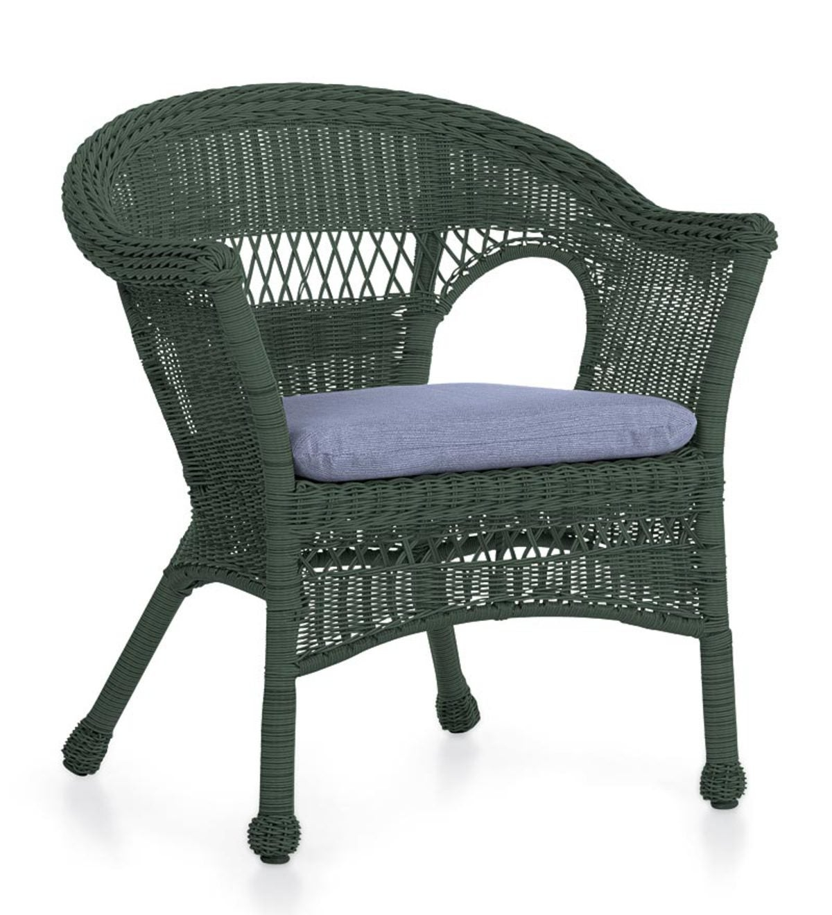 All Weather Resin Outdoor Easy Care Wicker Chair, In Green