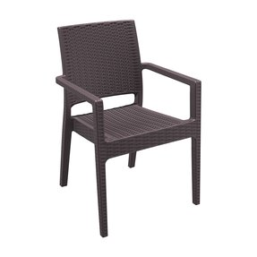 American Trading Company 810-3228 Ibiza Resin Ergonomic All-Weather Stackable Arm Chair, Expresso (Pack of 4)