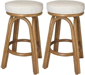 Assembled in USA Premium Rattan Backless Bar & Counter Stools (Set of 2)
