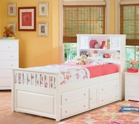 Capt's Bookcase w/ Underbed 4 Drawer Chest White/Twin